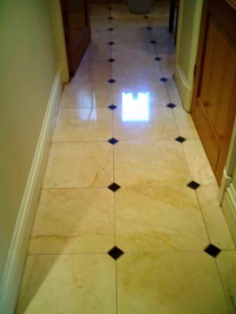 Marble stone floor after cleaning and sealing